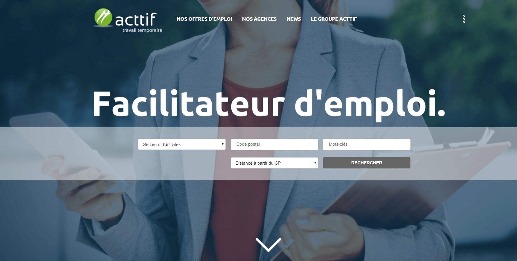 page d'accueil site web acttif travail temporaire